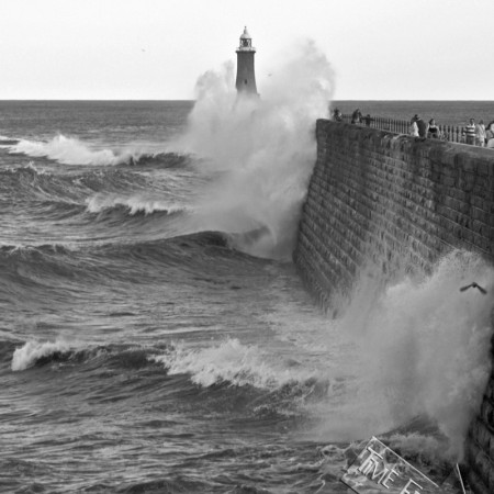 tynemouth pier waves photograph