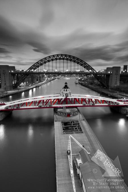 Swing Bridge Newcastle Black and white photo